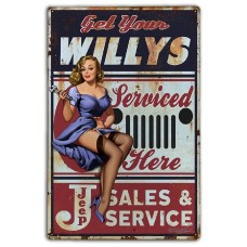 ONLINE EXCLUSIVE! Willy's Jeep Serviced Here Retro Aluminium Sign (20 x 25 cm)
